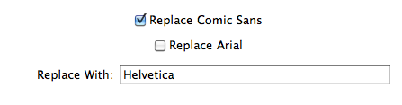 Comic Sans Be Gone Settings screenshot